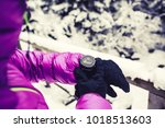woman hiker checking the... | Shutterstock . vector #1018513603