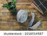 knitting and knitting needles ... | Shutterstock . vector #1018514587