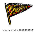 pizza slice flag vector icon in ... | Shutterstock .eps vector #1018515937