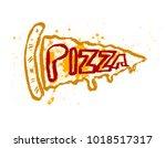 pizza slice vector icon in... | Shutterstock .eps vector #1018517317