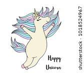 cute little unicorn magic horse ...   Shutterstock .eps vector #1018524967