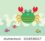 cute crab and fish greeting... | Shutterstock .eps vector #1018538317