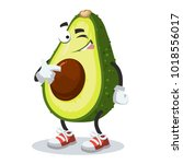 a cartoon mascot avocado winks... | Shutterstock .eps vector #1018556017