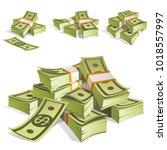 set of money. packing in...   Shutterstock .eps vector #1018557997