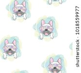 dog. french bulldog. heart... | Shutterstock .eps vector #1018559977