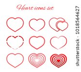 set of nine red hearts flat... | Shutterstock .eps vector #1018564627