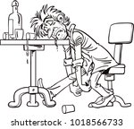 a drunk man sitting fall asleep ... | Shutterstock .eps vector #1018566733
