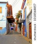 narrow street in the historic... | Shutterstock . vector #1018568857
