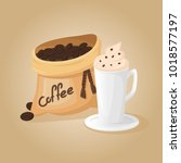 coffee bean bag and cup of... | Shutterstock .eps vector #1018577197
