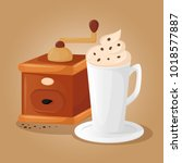 coffee grinder and cup of... | Shutterstock .eps vector #1018577887