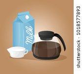milk and coffee pot. breakfast... | Shutterstock .eps vector #1018577893