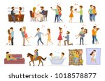 collection set of couples in... | Shutterstock .eps vector #1018578877