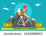 mountain ride bicycle geek... | Shutterstock .eps vector #1018588843