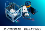 3d printing workshop. 3d... | Shutterstock .eps vector #1018594393