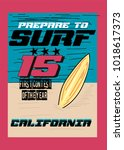 california surf t shirt print... | Shutterstock .eps vector #1018617373