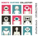 varied collection of robots... | Shutterstock .eps vector #1018622983