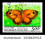 Small photo of MOSCOW, RUSSIA - NOVEMBER 25, 2017: A stamp printed in Togo shows Gatekeeper (Pyronia lithonus), Butterflies serie, circa 1999