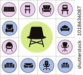 chair and sofa isolated flat... | Shutterstock .eps vector #1018636087