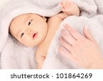 Asian baby boy lying on the blanket - stock photo