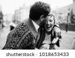 the lovely couple in love... | Shutterstock . vector #1018653433