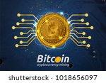 golden bitcoin in shining light ...   Shutterstock . vector #1018656097