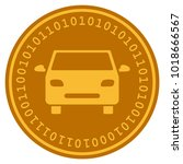 car golden digital coin icon.... | Shutterstock .eps vector #1018666567