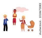 vector flat adult woman annoyed ... | Shutterstock .eps vector #1018673083