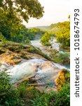agua azul waterfall near... | Shutterstock . vector #1018674793