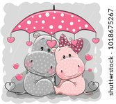 two cute cartoon hippos with... | Shutterstock .eps vector #1018675267