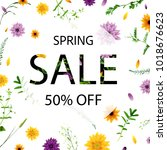 sale poster with flowers ... | Shutterstock .eps vector #1018676623