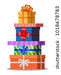 gifts with bows and ribbons.... | Shutterstock . vector #1018678783