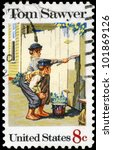 "USA - CIRCA 1972: A stamp printed in USA shows the painting ""Tom Sawyer"", by Norman Rockwell (1894-1978), American Folklore Issue, circa 1972 - stock photo"
