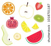 fruits cocktail   vector hand... | Shutterstock .eps vector #1018701187