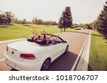 dreamy ladies and guy driver ... | Shutterstock . vector #1018706707