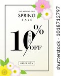 spring sale background with...   Shutterstock .eps vector #1018712797
