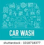 24 7 working car wash with... | Shutterstock .eps vector #1018718377
