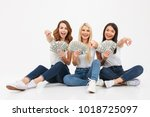 image of three young cute... | Shutterstock . vector #1018725097