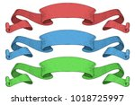 ribbon banners. colored set.... | Shutterstock . vector #1018725997