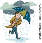 a man caught in a downpour... | Shutterstock .eps vector #1018735093