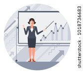 businesswoman with a pointer... | Shutterstock .eps vector #1018736683