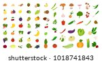 fruits and vegetables set on... | Shutterstock . vector #1018741843