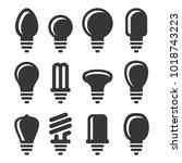 light bulbs icons set on white... | Shutterstock .eps vector #1018743223