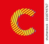 letter C, capital letter for advertising or editable editorial use, vector texture with lines | Shutterstock vector #1018745767