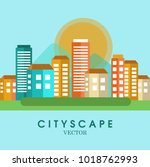 cityscape color background.... | Shutterstock .eps vector #1018762993
