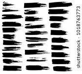 grunge ink brush strokes set.... | Shutterstock .eps vector #1018763773