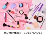 female cosmetics products set ... | Shutterstock . vector #1018764013