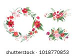 hand drawn watercolor floral...   Shutterstock . vector #1018770853