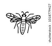 bee vector illustration. doodle ... | Shutterstock .eps vector #1018779427