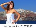 beautiful young greek woman ... | Shutterstock . vector #101879233