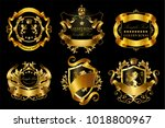 vector set of golden royal... | Shutterstock .eps vector #1018800967